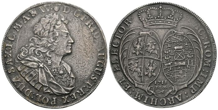 "Germany - Saxony-Albertine, Poland - August II ""the Strong"" Talar 1711 ILH, Drezden - Silver"