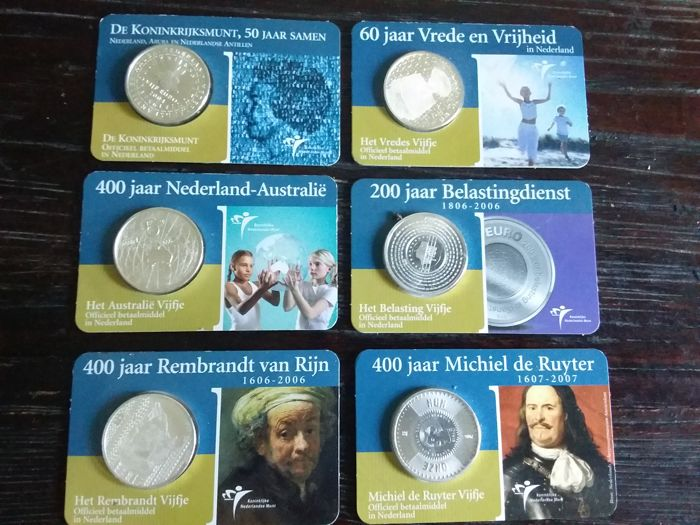 Netherlands - Euro € 5 2004-2007  Coincards (totaal 6 stuks)  - Silver