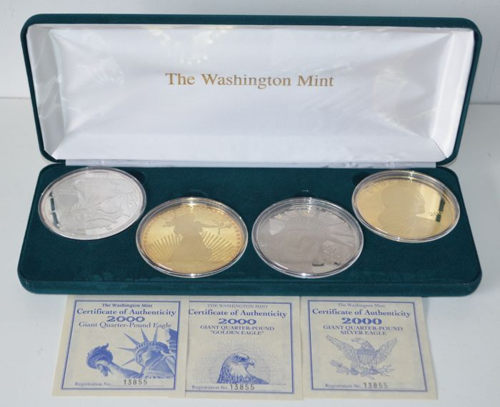 United States - Washington Mint. 4x Giant Quarter-Pound, 2000 (4 munten) - Silver
