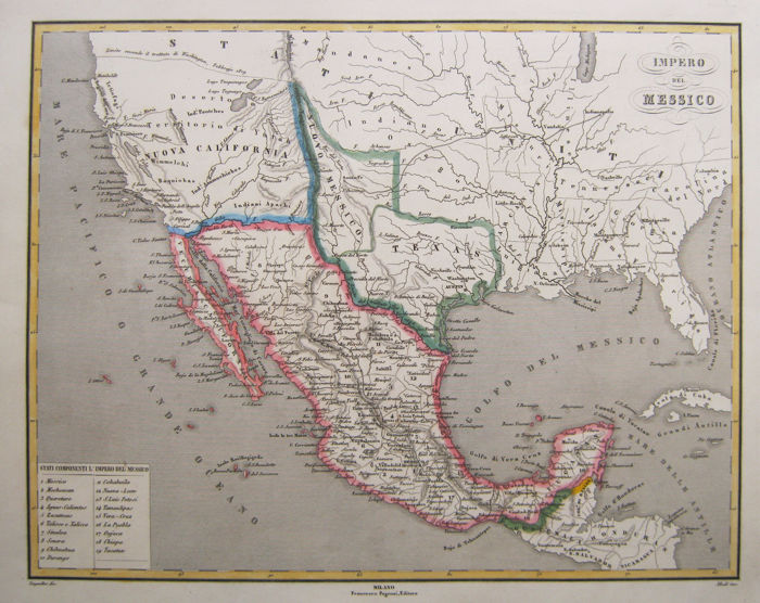 Map Of Texas 1880.Mexico Mexico California Texas Allodi Pietro Impero Del Messico