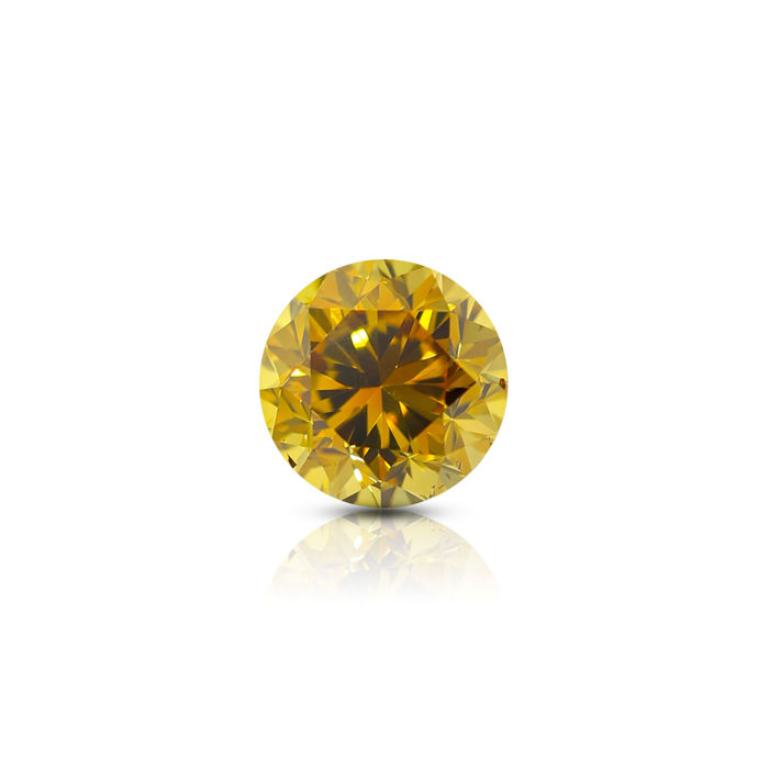 1.06 ct. Natural Fancy Deep Brownish Orangy Yellow Round Brilliant Cut Diamond, GIA Certified