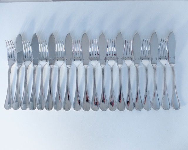 10 fish forks 10 fish knives, fish cutlery Christofle model Albi