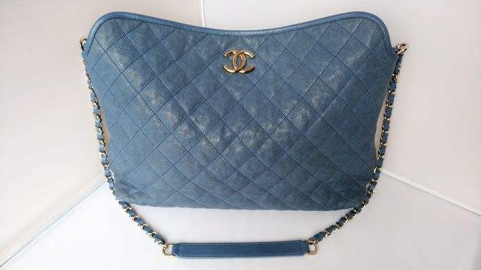 28cc466760e071 Chanel - Blue Quilted Caviar Leather French Riviera Hobo Shoulder bag