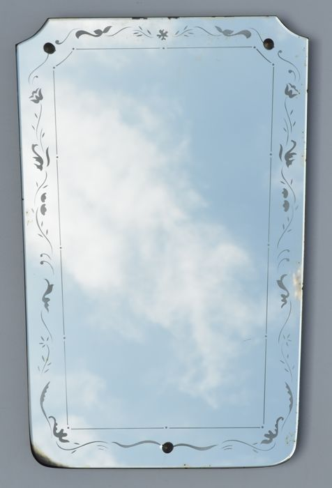 Mirror engraved in the style of Luigi Brusotti - Wall mirror