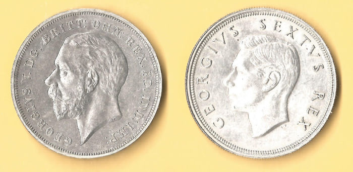 United Kingdom and South Africa - Crown 1935 George V + 5 Shillings 1948 George VI   - Zilver