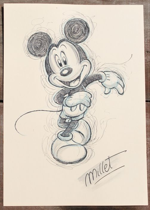Disney Millet Original Drawing Mickey Mouse First Edition