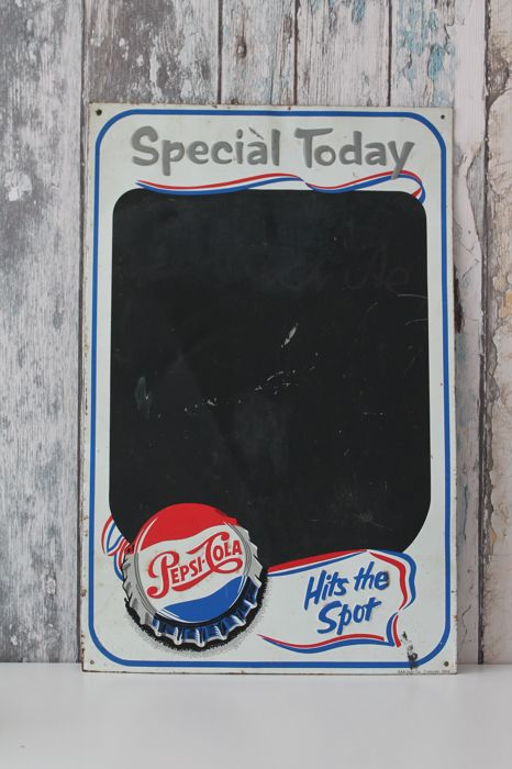 "Old Vintage PEPSI Tin Sign ""Special Today, Hits The Spot*"