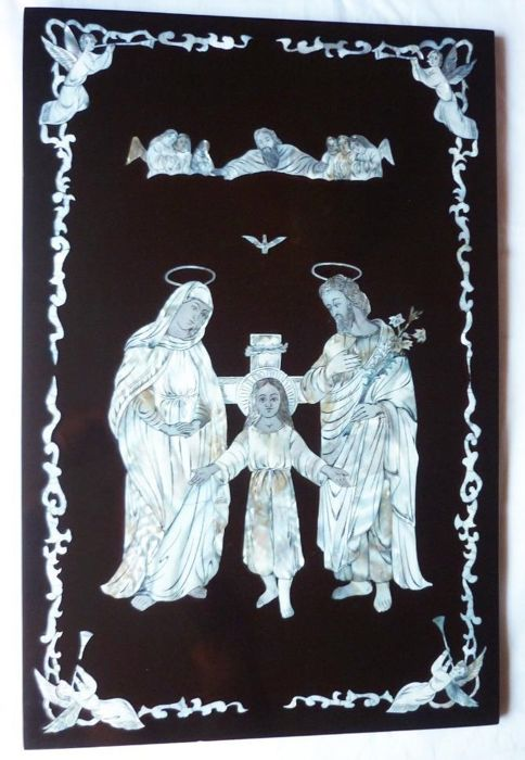 Plaque religious scene inlaid with mother-of-pearl