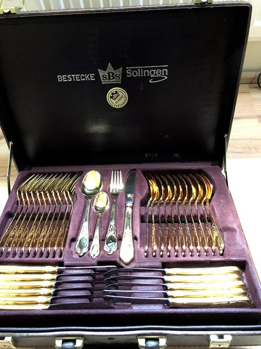 SBS Solingen cutlery 70 pieces 24 carat hard gold-plated - model Vienna
