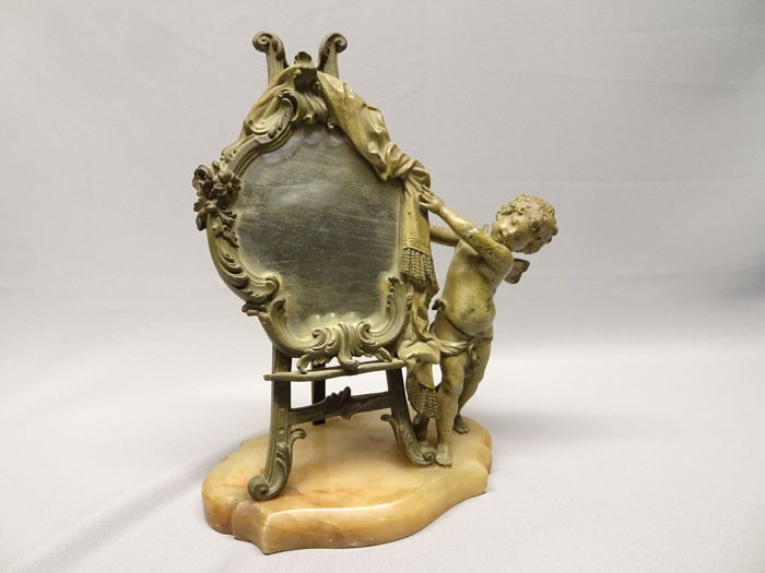 Angle with mirror, easel on marble foot - 19th century - France