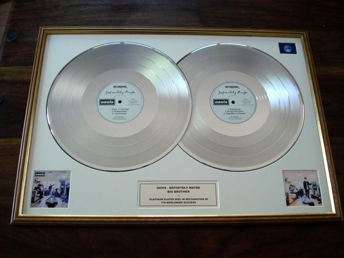 Oasis Definitely Maybe double-platinum record disc LP award