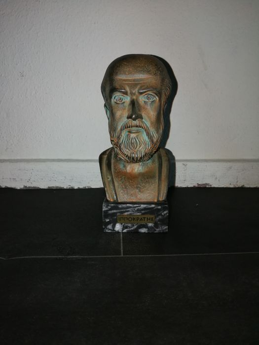 Bust of Hippocrates, pristine, signed E.F.