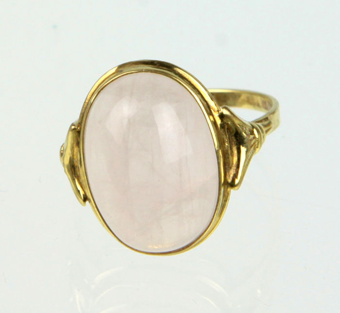 Rosenquarz Ring, 333 Gold