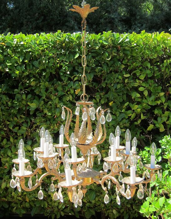 Antique brass and crystal lamp - fifteen lights - first half of the 20th century, Spain, brass and glass