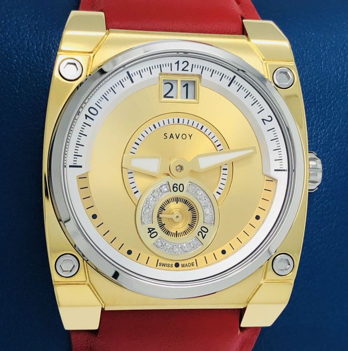 Savoy - Icon Petite Diamonds 33 mm Red leather IP Gold - C3303.12A.L4 - Dames - NEW