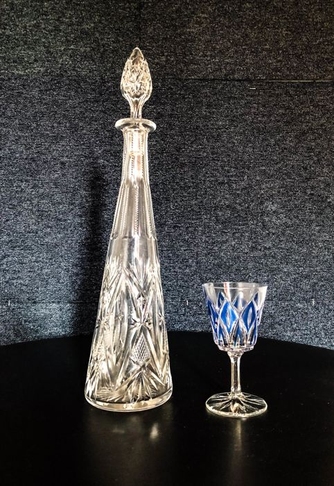 Val Saint Lambert (attr.) - Set decanter and crystal glass in white and blue
