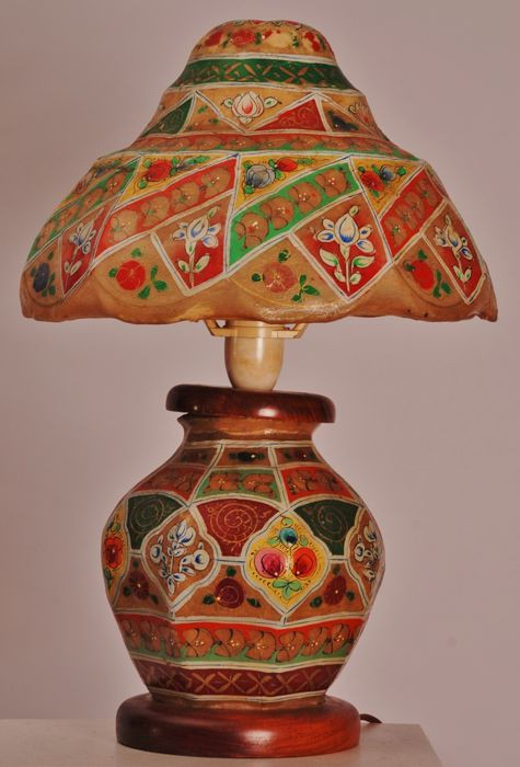 Hand Painted Table Lamp Made Of Camel Skin