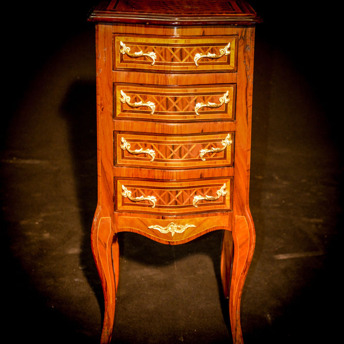 Napoleon III night stand - walnut and burr walnut - France, first half of 1900