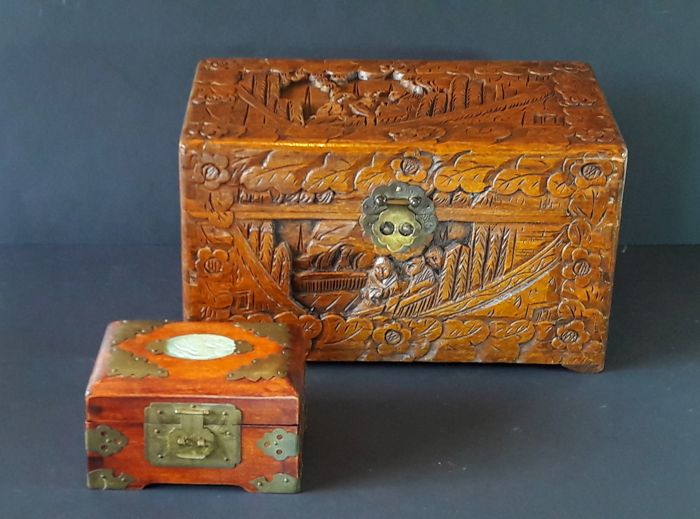 A wooden document case and a wooden jewellery box with an inlaid stone panel - China - 1960s/1970s