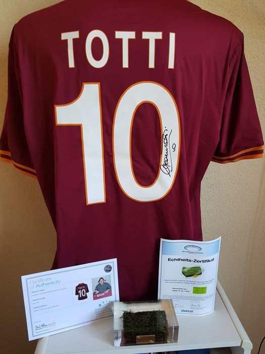 Francesco Totti - hand signed AS Roma jersey (+COA and Photoproof) + Final WC 2006 grass + COA