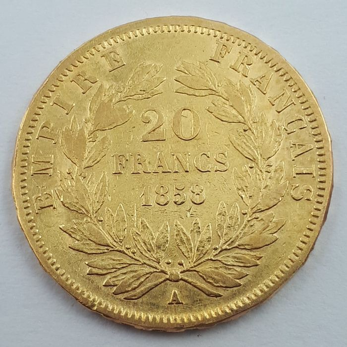 20 Francs 1858-A Napoléon III - Or