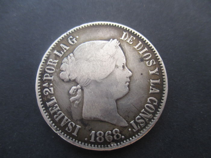 Spain - Madrid - 50 Centimo de peso 1868, Isabel II. - Silver