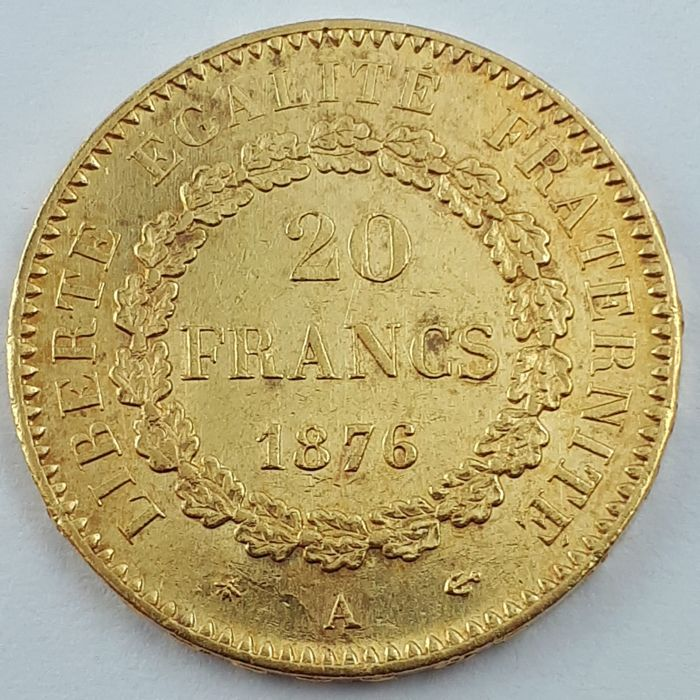 France - 20 Francs 1876-A Genius - Or