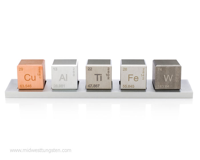 "Element 1"" cube (5) Set: Tungsten Carbide, Copper, Titanium, Aluminum, Iron alloys"