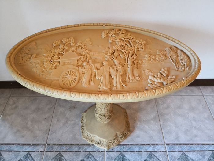 Oriental Carved Coffee Table   In Resin Or Avorina (ivory Dust)   1960s/