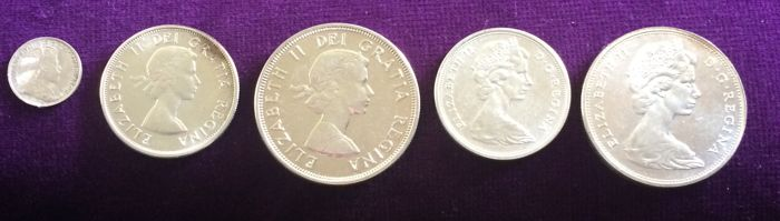 Canada - 5 Cents t/m Dollar 1908, 1964, 1965 - Zilver