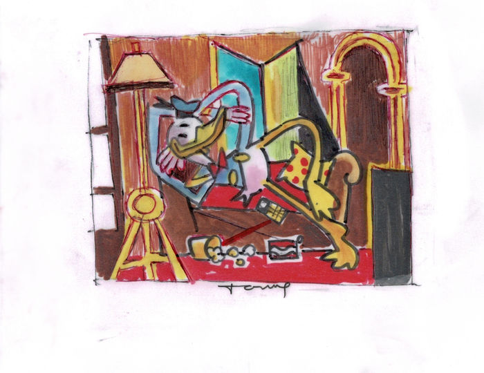 Donald Duck inspired by Picasso - Original Drawing - Tony Fernandez - 12 x 14 cm