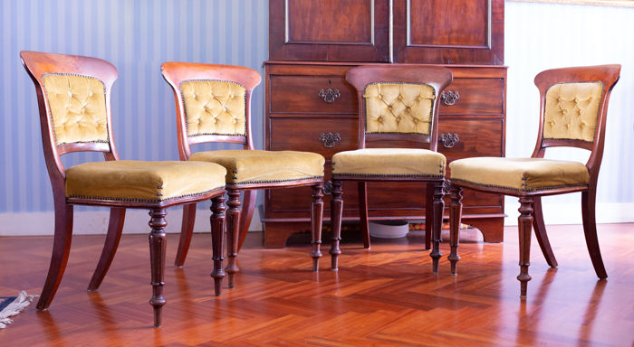 Set Of 4 Mahogany Dining Room Chairs   England   Ca. 1860