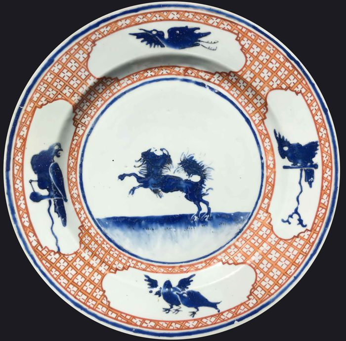 "A large ""Leaping Pekinese"" dish - China - ca. 1735 (Yongzheng period)"