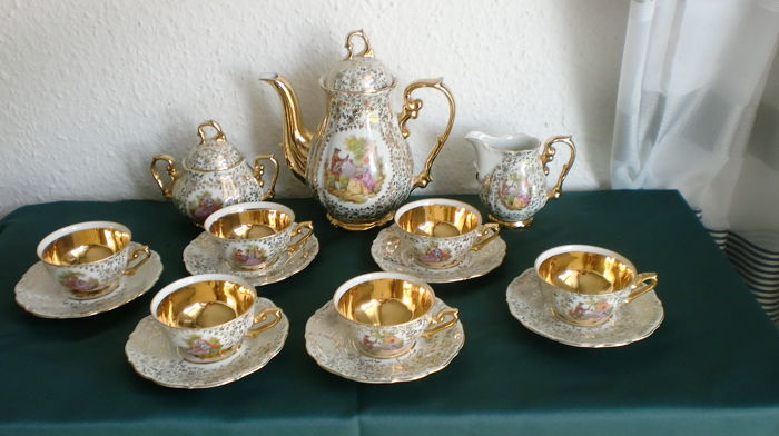 Bavaria Schlottenhof - mocha service with watermum painting for 6 people