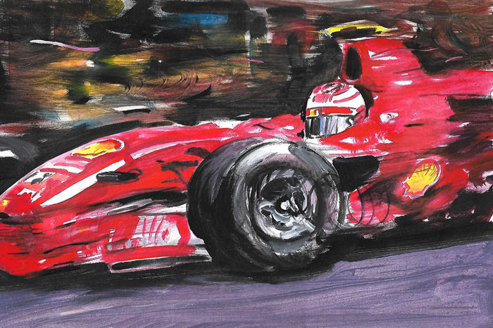 ORIGINAL Painting - Kimi Raikkonen Ferrari F2007 F1 Car - 2018 (1 items)