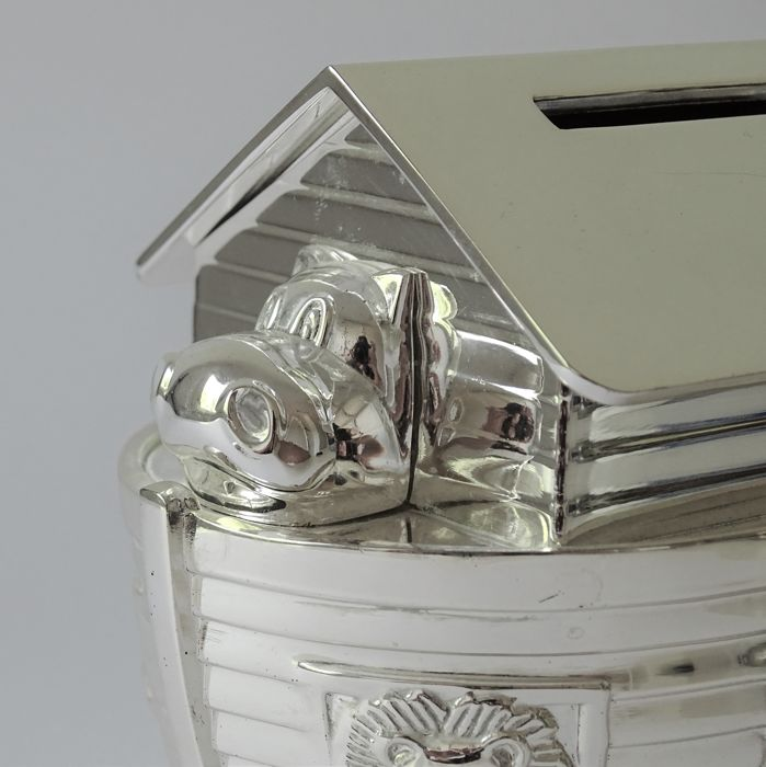 Silver plated money box Noah's Ark