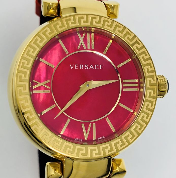 Versace - Leda Red mother of pearl IP Yellow Gold Leather  Swiss Made  - VNC190017 - Femme - NEW