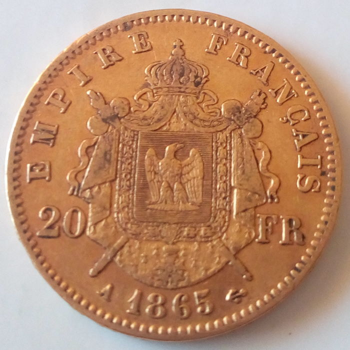 France - 20 Francs 1865-A Napoléon III - Gold