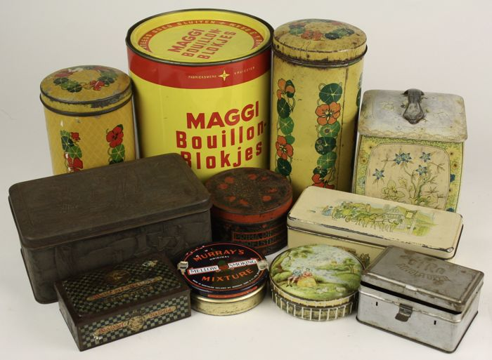 Collection of 11 vintage tins - tea / cooking / smoking / sweets