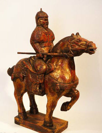 Statue in polychrome wood - China - second half of the 20th century