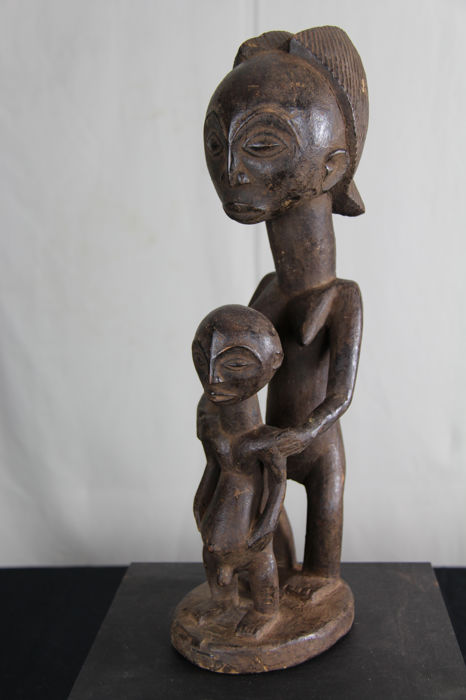 Tribal Mother Child Figure - TABWA - D.R. Congo