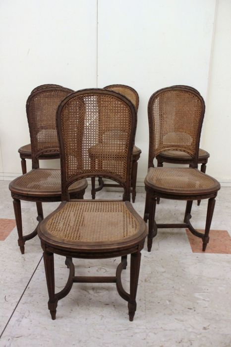 Set of six walnut chairs in Louis XVI style - France - ca. 1890