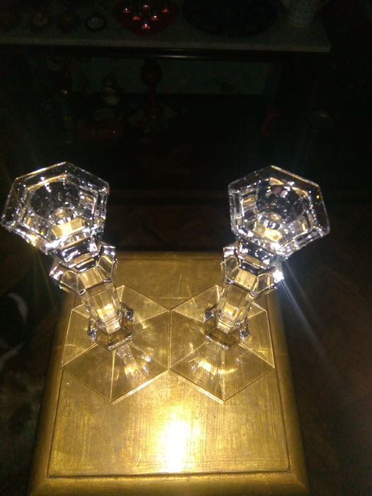 Val Saint Lambert - Pair of crystal candle holders