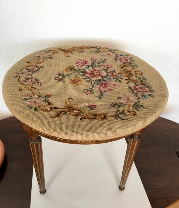 Side table - Wood and Petit Point - France - Around 1957
