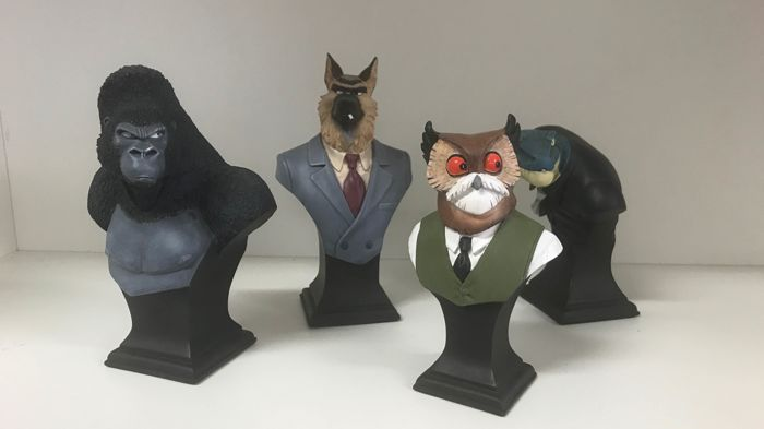 4 Attakus statuettes - Jake Ostiombe + Smirnov + Otto Lieber + Lizard - Collection of Blacksad mini-busts - (2007)