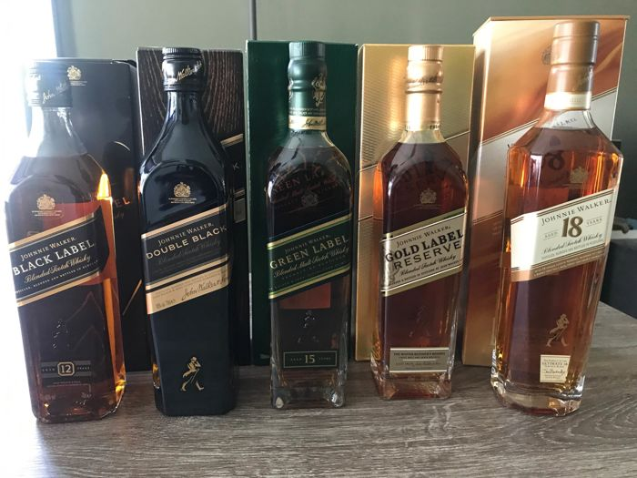 5 Bottles Johnnie Walker 18 Years Old Gold Reserve