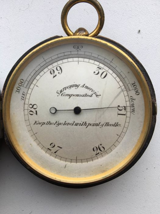 A surveying compensated pocket aneroid barometer, late 19th or early 20th century