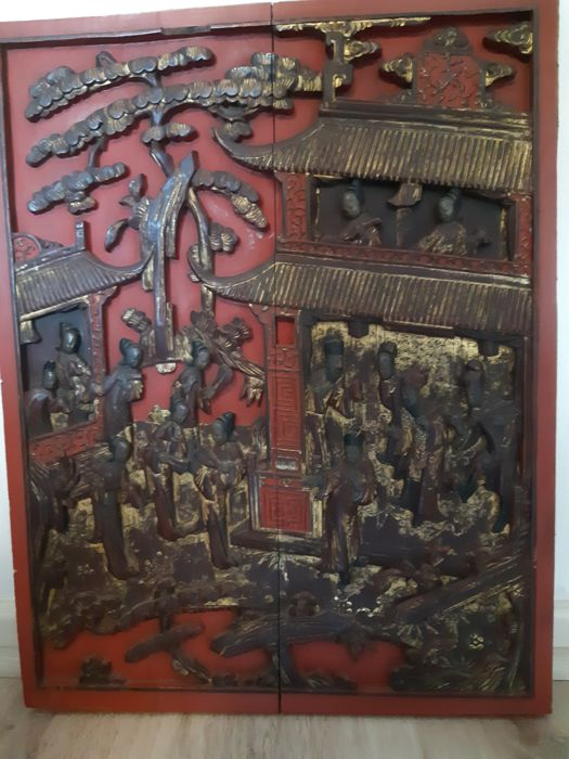 Panel in lacquered and gilded wood - China - 19th century