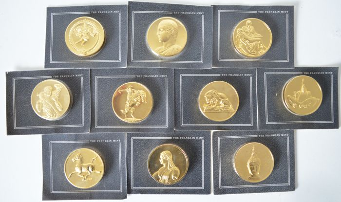United States - 10 grote munten goldplated brons 1982/1983/1984
