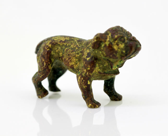 Antique cold painted bronze bulldog figurine - Vienna, Austria - circa 1920's for sale